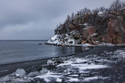 Black Beach In Winter
