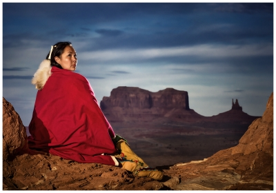 Navajo Woman Over Monument Valley