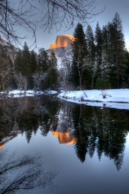 Winter Alpenglow On Half Dome