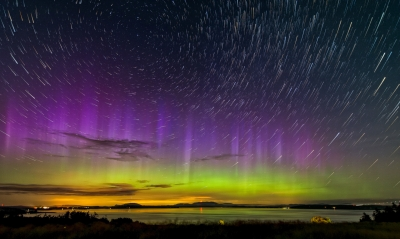 Stars And Northern Lights Over San Juan Island