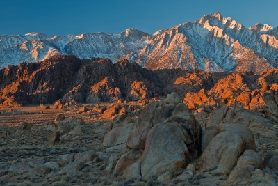 California, Eastern Sierra, Alabama Hills, Mount Whitney, Sunrise, Rocks, Landscape