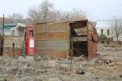 Old Gas Pump And Ice House