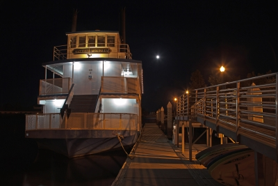 Boat Dock And Full Moon