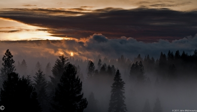 Sunset And Fog