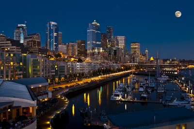 Downtown Seattle From Bell Harbor Marina