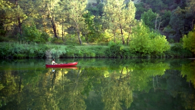 Reflections Of A Red Canoe