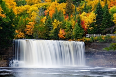 Michigan, Upper Peninsula, Tahquamenon Fall, Foliage