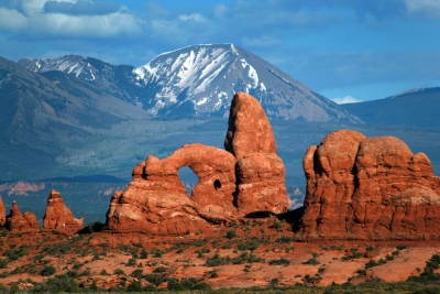 Turret Arch And La Sal Mountains