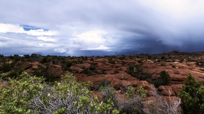 A Spring Thunderstorm Unleashes Rain Over The Fiery Furnace