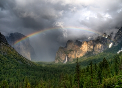 Rainbow Over Yosemite Valley