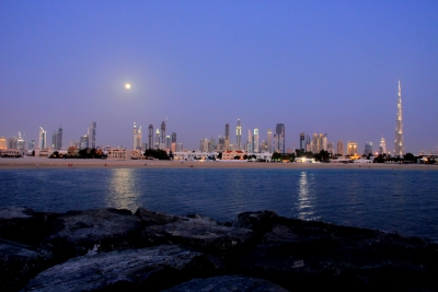 Full Moon Shining On Dubai Skyline