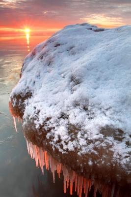 Glowing Icicles Along Lake Huron