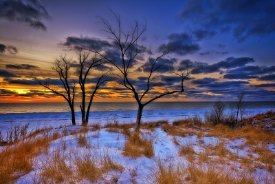Winter Sunset At Little Sable Point
