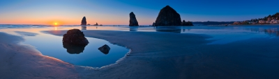 Cannon Beach Sunset Panorama
