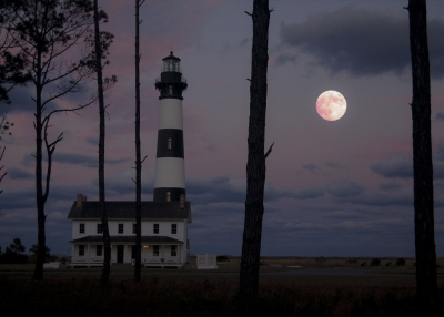 Moon Rise Over Bodie Island Light House