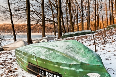 Green Boat, Winter, Reservoir, Snow, Trees, Morning