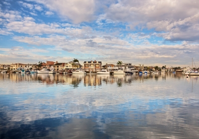 Wide Angle View Of Huntington Harbor