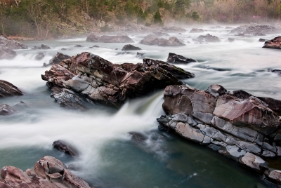 White Water On The Rocks