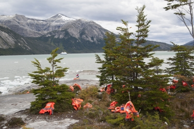 Lifejackets On Shore Beagle Channel Patagonia