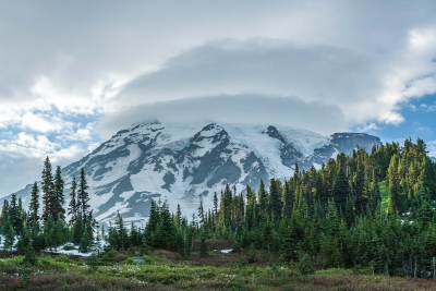 Double Tube-clouds Over Mt. Rainier After A Thunderstorm
