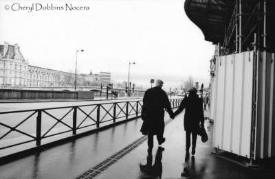 Romantic Stroll On A Parisian Street