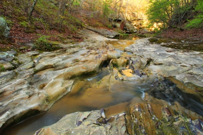 Sandstone And Reflections In Piney Creek