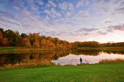 Ohio, Cuyahoga Valley National Park, Indigo Lake, Fall Colors Foliage, Reflection, Sunset, Photographer