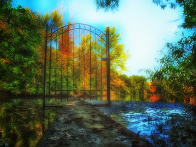Gate On An Autumn Lake