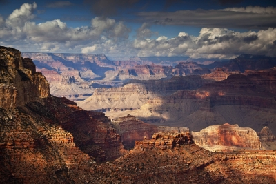 Sun And Clouds At Mather Point, Grand Canyon Np