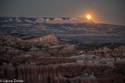 Harvest Moon Rises Over Bryce Canyon