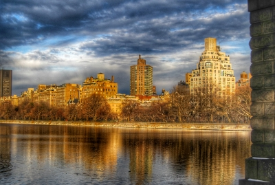 Central Park Reservoir, Looking East At Sunset