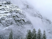 Snow-covered Cliffs And Fog