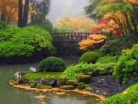Portland Japanes Gardn Fog In Autumn