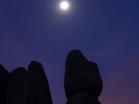 Moon Setting On Granite Monolith
