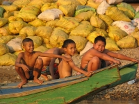 Kids In A Boat On The Mekong River