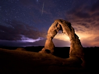 Delicate Arch, Lightning And Iridium Flare