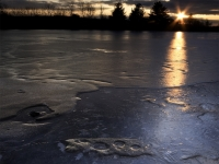 Frozen Pond At Sunset