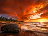 Lake Superior Blazing Sunset