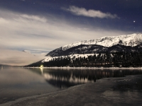 Wallowa Lake Freezing By Moonlight