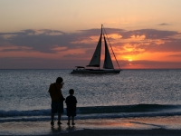 Gulf Sunset With Boat & Boys
