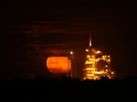 Moonrise Over Kennedy Space Center's Final Night Launch