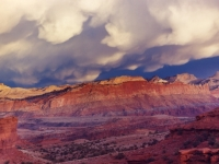 Mammatto-cumulus Clouds, Sunset, Panorama Point, Capitol Reef National Park, Utah.