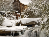 Glade Creek Grist Mill After Snow Storm.