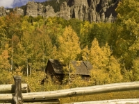 Fall Foliage & Old Cabin Cimarron Range Colorado