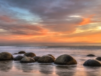 Moeraki Boulders New Zealand At Dawn