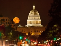 Capitol Building With Full Moon