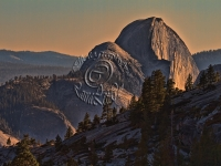 Half Dome Aglow In A Smoky Sunset