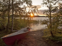 Lake Sunset In Finland