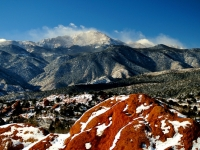 Pikes Peak Seen From Garden Of The Gods On New Year's Day