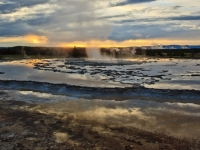 Great Fountain Geyser At Sunset